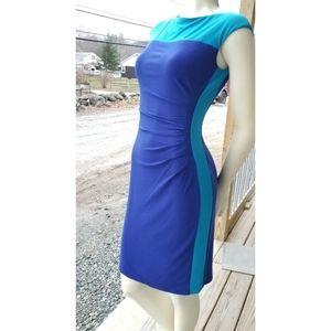 Chaps Two-Tone Blue Bodycon Dress, Sm